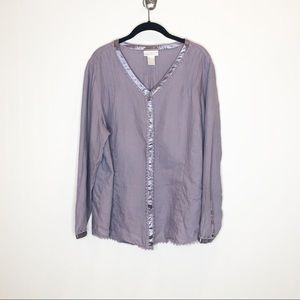 SOFT SURROUNDINGS Lavender Linen Blouse, Sz 1X